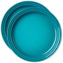 Conjunto-de-pratos-de-sobremesa-de-ceramica-Le-Creuset-azul-caribe-15-cm