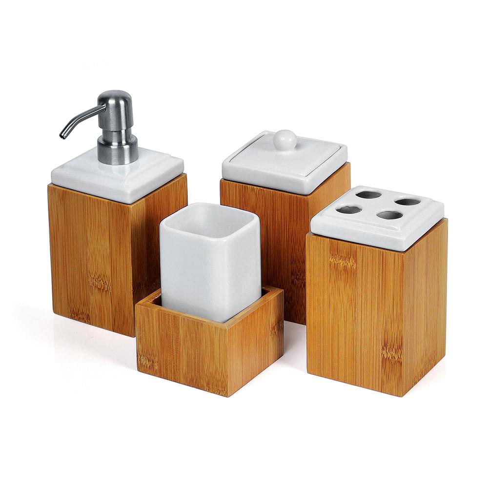 Utensilios domesticos banheiro : Jogo para banheiro de porcelana e bambu viena pe?as