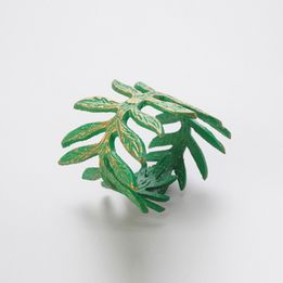 Argola-para-guardanapo-de-metal-Folhas-verde-4-pecas