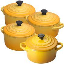 Mini-cocotte-de-ceramica-Le-Creuset-amarelo-dijon-4-pecas-300-ml---21662
