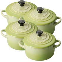 Mini-cocotte-de-ceramica-Le-Creuset-verde-kiwi-4-pecas-300-ml---21671