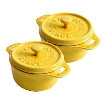 Conjunto-de-mini-cocotte-redonda-de-ceramica-Staub-amarela-com-2-pecas---12653
