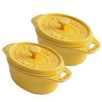 Conjunto-de-mini-cocotte-oval-de-ceramica-Staub-amarela-com-2-pecas---12652