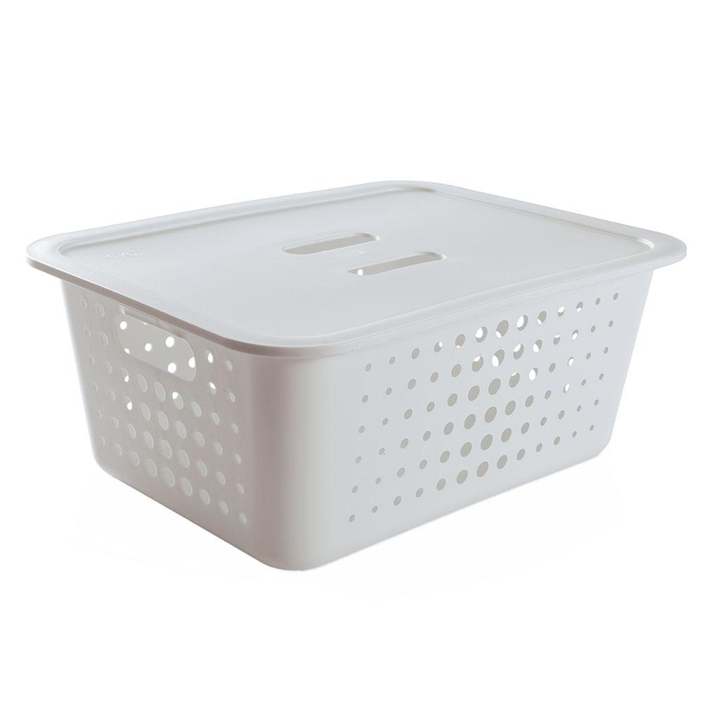 cesta organizadora de pl stico ou branca 41 x 31 cm