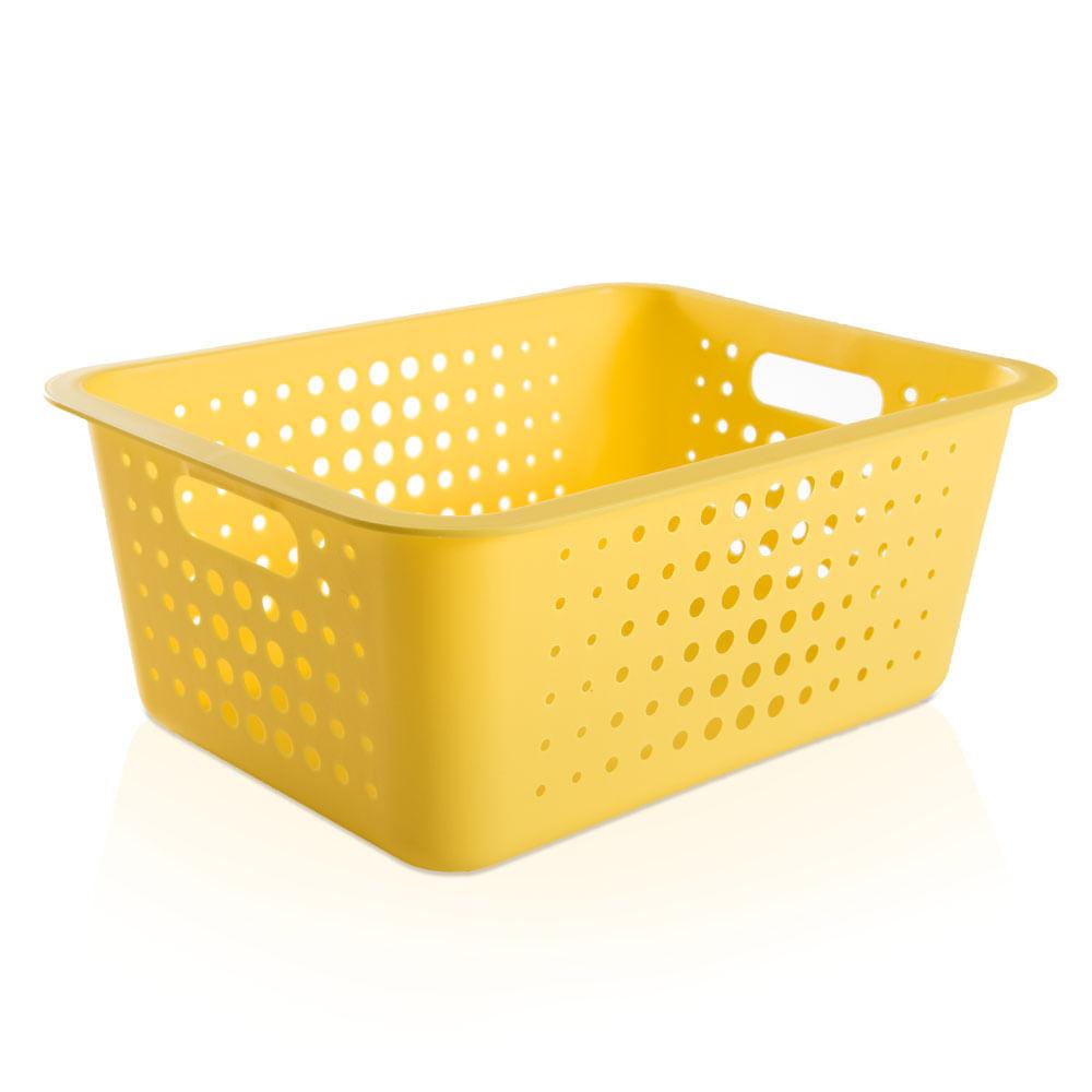 cesta organizadora de pl stico ou amarela 41 x 31 cm