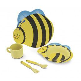 Conjunto-de-fibra-de-bambu-infantil-Abelha-Hercules-amarelo-5-pecas---22674