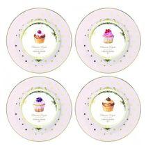 Prato-de-sobremesa-de-porcelana-Dots---Cupcake-4-pecas-19-cm---23458