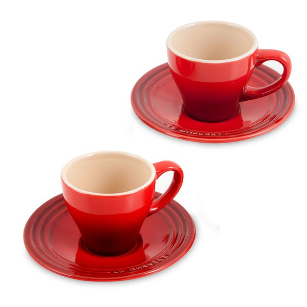 Xícara de Café Le Creuset Cerâmica Vermelho 70ML 2 Peças - 25029