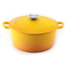 Panela-de-ferro-redonda-Le-Creuset-amarelo-dijon-20-cm---13823