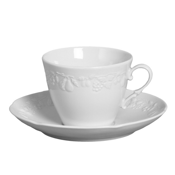 Xícara de chá de porcelana Summer Verbano branca 200mL - 14458