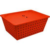 Cesta-organizador-de-plastico-com-tampa-Coza-vermelha-39-x-17-x-29-cm
