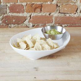 Petisqueira-de-ceramica-com-bowl-de-inox-Chip-Umbra-com-2-pecas