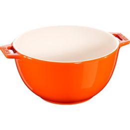 Bowl-de-ceramica-com-alca-Staub-laranja-25-cm