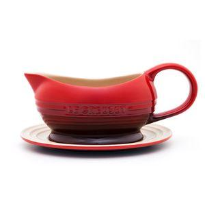 Molheira de cerâmica com pires Le Creuset vermelha 470 ml - 102179