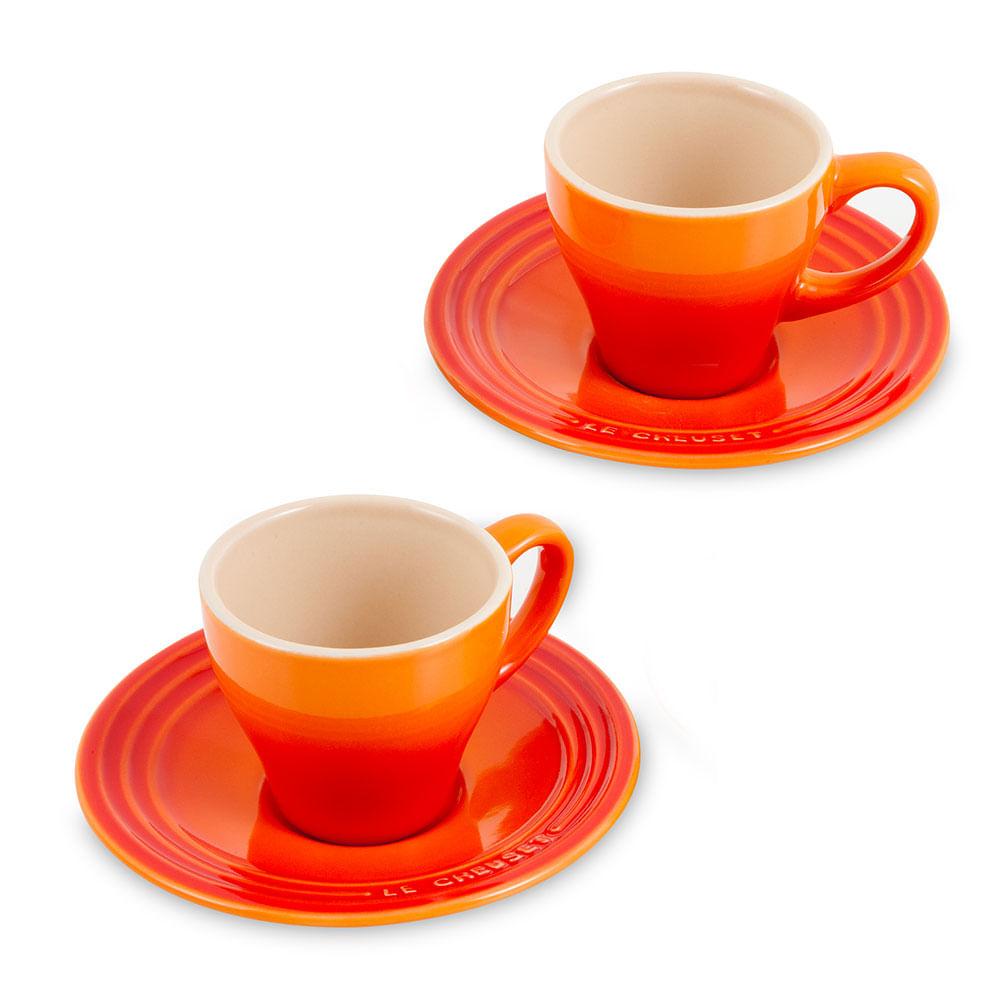 Xícara de Café de Cerâmica Le Creuset Laranja 70ML 4PÇS