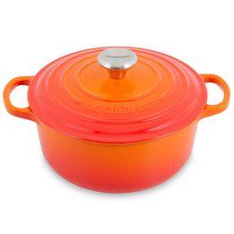 Panela-de-ferro-redonda-Signature-Le-Creuset-laranja-26-cm---26327
