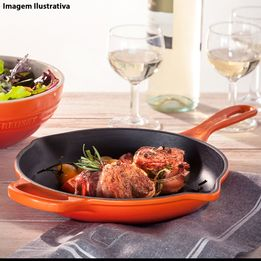 Frigideira-de-ferro-redonda-Skillet-Signature-Le-Creuset-laranja-20-cm---26681-
