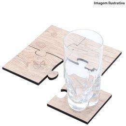 Descanso de panela e copo de madeira Quartzo WoodArt bege 17 x 17 cm - 26981