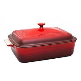 Travessa-de-ceramica-com-tampa-Le-Creuset-vermelha-32-cm
