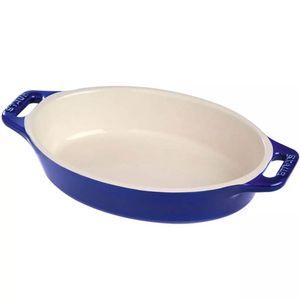 Travessa-de-ceramica-oval-Staub-azul-marinho-23-cm