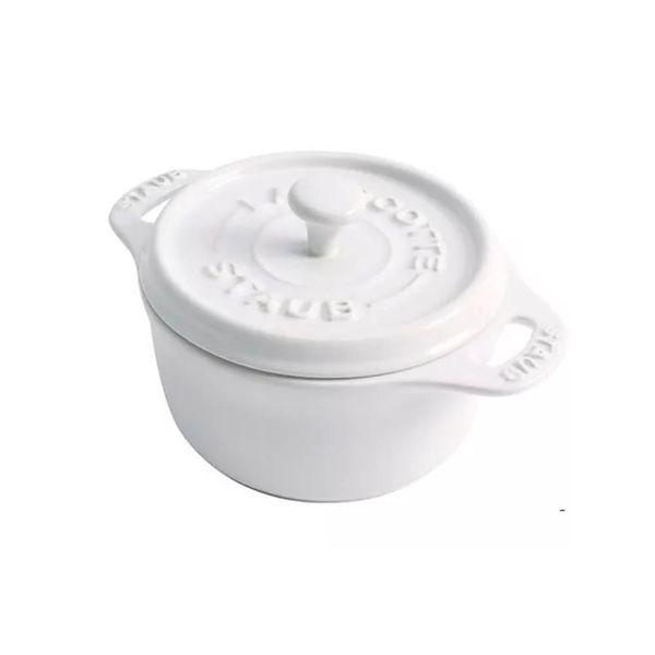 Mini-cocotte-de-ceramica-redonda-Staub-branca-10-cm