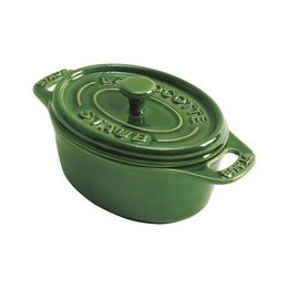 Mini-Cocotte-de-ceramica-oval-Staub-verde-11-cm