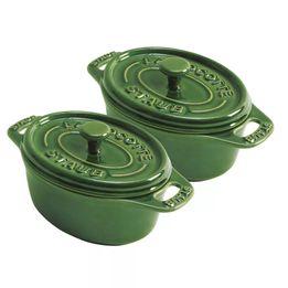 Mini-cocotte-oval-de-ceramica-Staub-verde-2-pecas---12656-