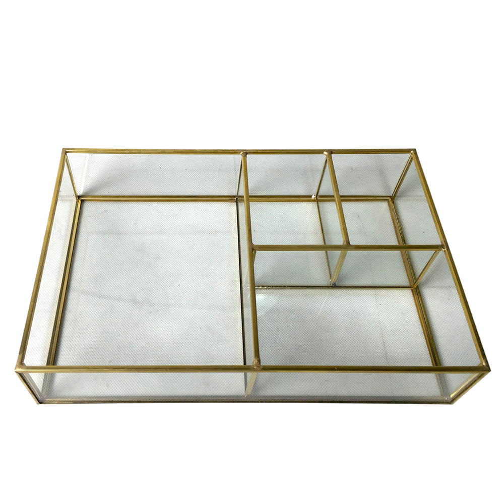 Bandeja de vidro e metal 4 divis rias 28 x 18 x 4 cm - Bandeja metal ...