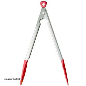 Pinca-com-Trava-Cuisipro-Silicone-Vermelho-30CM---30028