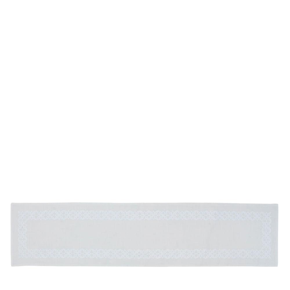 Caminho de Mesa de Poli-Linho Auguri Casa Fiori Branco 40X170CM