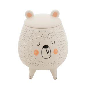 Potiche-Sleeping-Bear-Ceramica-Branco-10X14CM---32948