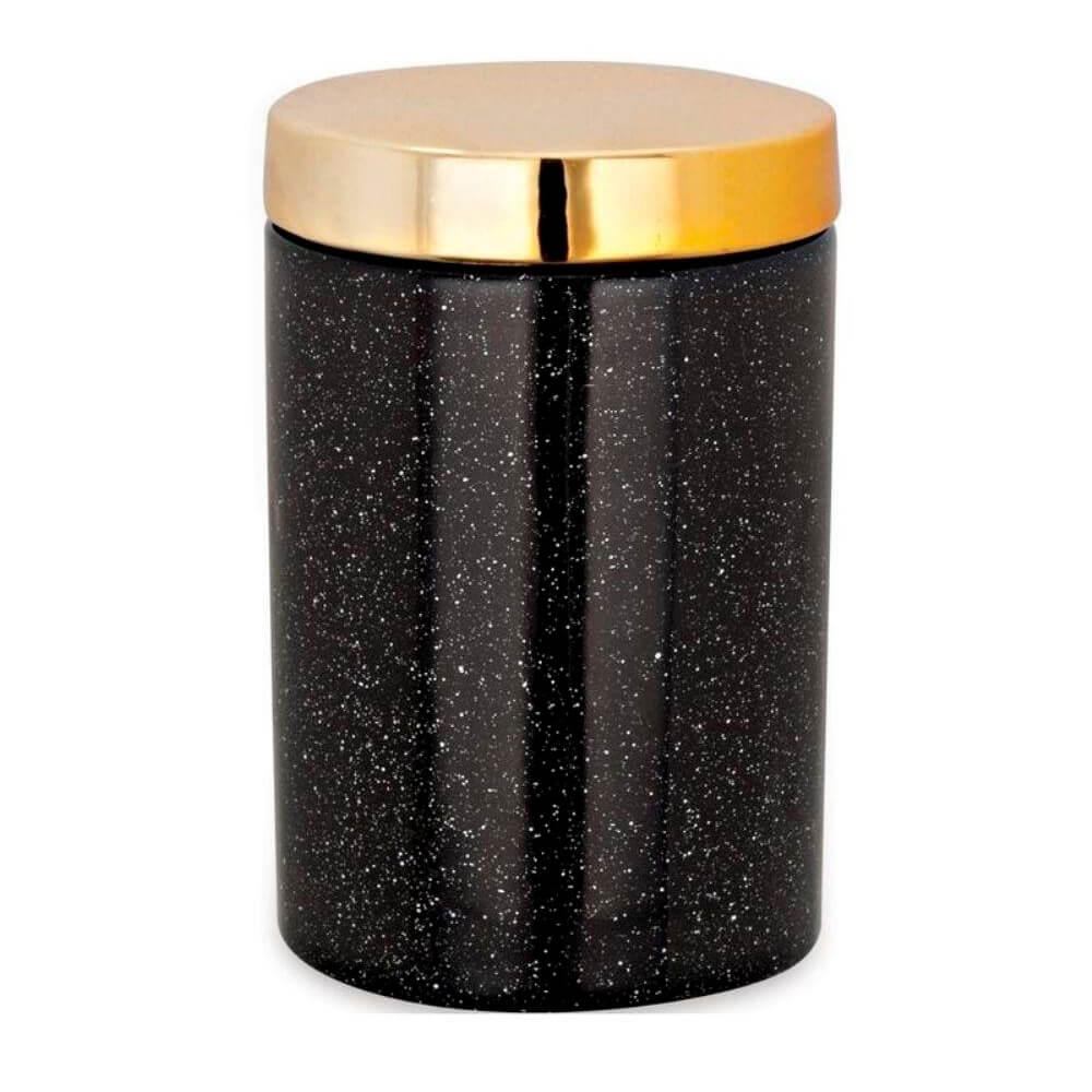 Pote de Cerâmica Preto e Dourado 8X12CM