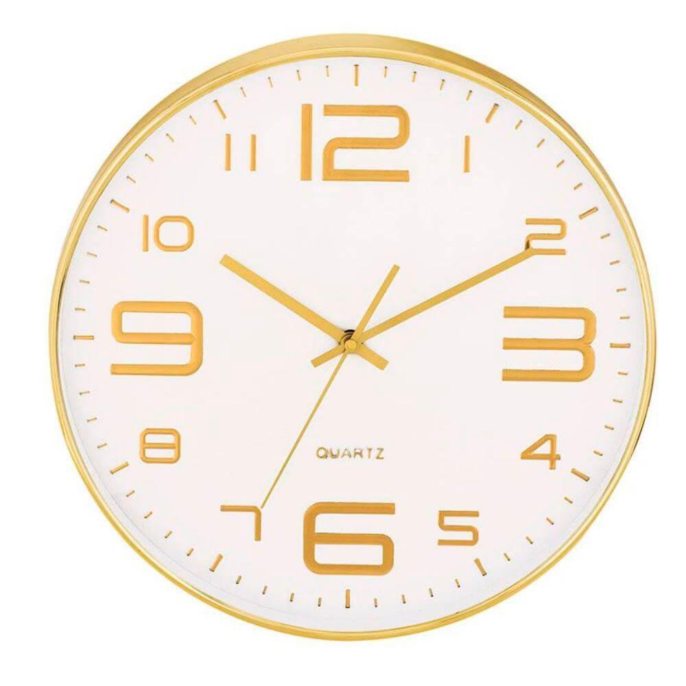 Relógio de Parede Branco e Dourado 35,5CM