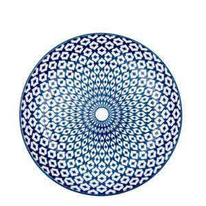 Prato-Sobremesa-de-Porcelana-Diamond-Azul-e-Branco-19CM