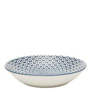 Prato-Fundo-de-Porcelana-Diamond-Azul-e-Branco-20CM