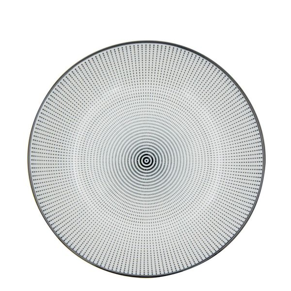 Prato-Fundo-de-Porcelana-Dots-Preto-e-Branco-20CM