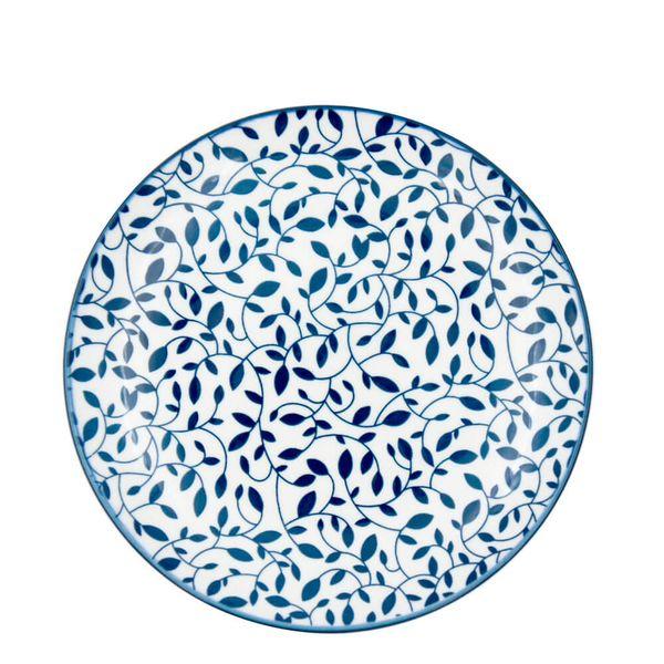Prato-Sobremesa-de-Porcelana-Floral-Azul-e-Branco-19CM