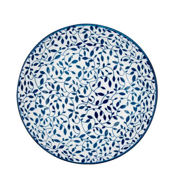 Prato-Fundo-de-Porcelana-Floral-Azul-e-Branco-20CM