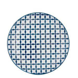 Prato-Sobremesa-de-Porcelana-Geometric-Star-Azul-e-Branco-19CM