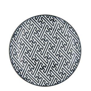 Prato-Sobremesa-de-Porcelana-Greek-Key-Preto-e-Branco-19CM