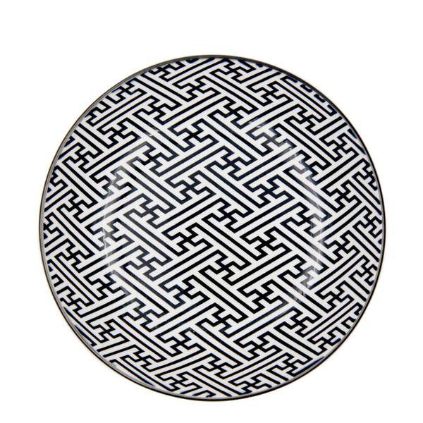 Prato-Fundo-de-Porcelana-Greek-Key-Preto-e-Branco-20CM