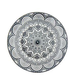 Prato-Sobremesa-de-Porcelana-Mandala-Preto-e-Branco-19CM