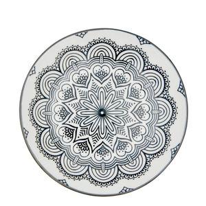 Prato-Fundo-de-Porcelana-Mandala-Preto-e-Branco-20CM