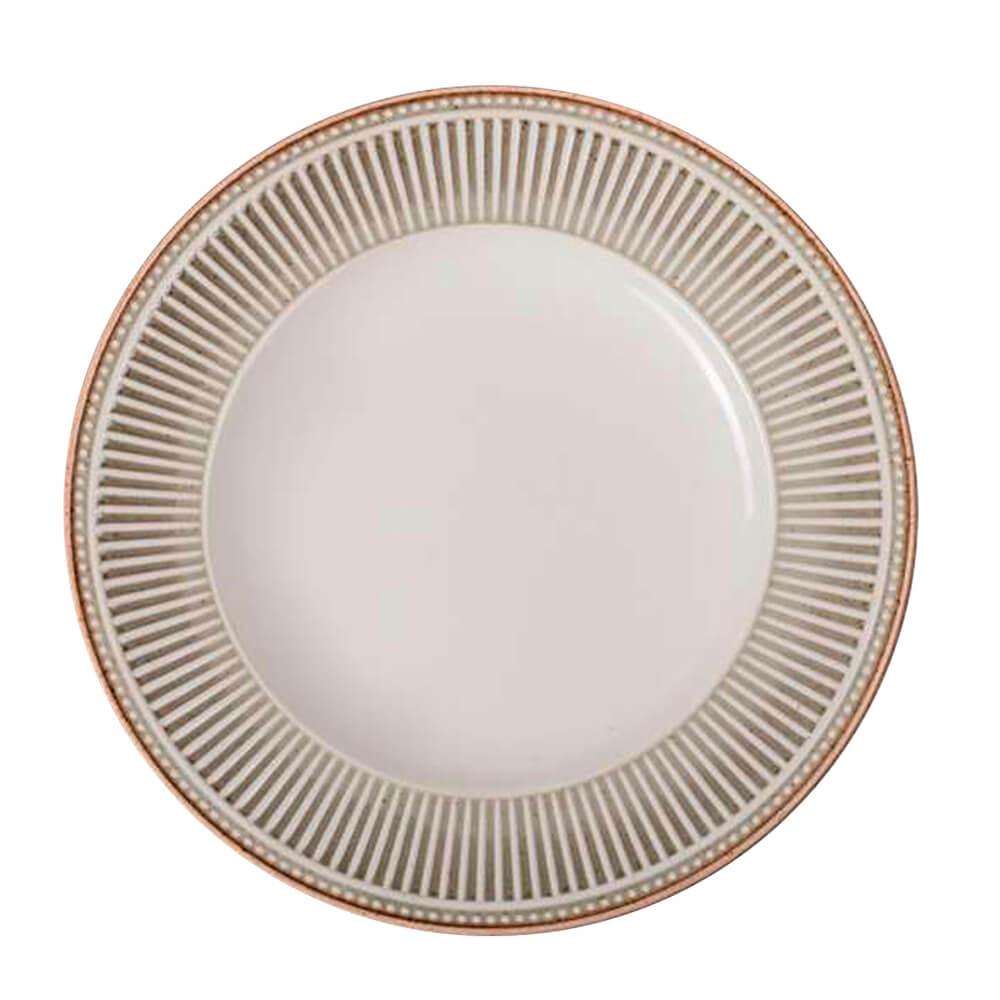 Prato Sobremesa de Cerâmica Toscana Cinza 21,5CM