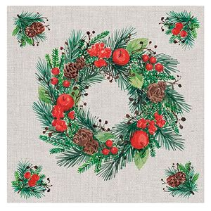 Guardanapo-de-Papel-Wreath-On-Linen-20PCS-33CM