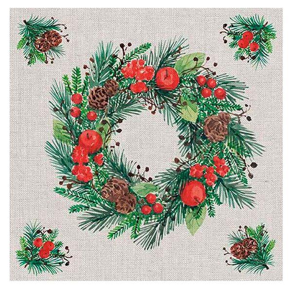 Guardanapo-de-Papel-Wreath-On-Linen-20PCS-33CM