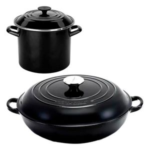 Cacarola-de-Ferro-Buffet-Le-Creuset-Signature-Black-Onyx-30CM---Caldeirao-Esmaltado-Stock-Pot-Le-Creuset-Black-Onyx-22CM