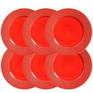 Conjunto-Prato-Raso-de-Ceramica-Vermelho-26CM-6PCS
