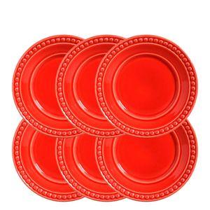 Conjunto-Prato-Sobremesa-de-Ceramica-Vermelho-20CM-6PCS