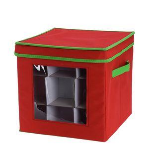 Caixa-Organizadora-para-Bolas-de-Natal-Vermelha-33X33CM